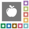 Apple square flat icons - Apple flat icons on simple color square backgrounds