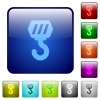 Construction hook color square buttons - Construction hook icons in rounded square color glossy button set
