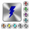 Lightning energy rounded square steel buttons - Lightning energy engraved icons on rounded square glossy steel buttons