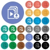 Download playlist round flat multi colored icons - Download playlist multi colored flat icons on round backgrounds. Included white, light and dark icon variations for hover and active status effects, and bonus shades on black backgounds.