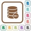 Database processing simple icons - Database processing simple icons in color rounded square frames on white background