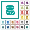 Shrink database flat color icons with quadrant frames - Shrink database flat color icons with quadrant frames on white background