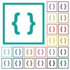 Programming code flat color icons with quadrant frames - Programming code flat color icons with quadrant frames on white background