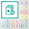 Print playlist flat color icons with quadrant frames - Print playlist flat color icons with quadrant frames on white background