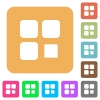 Component stop rounded square flat icons - Component stop flat icons on rounded square vivid color backgrounds.
