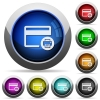 Credit card print record round glossy buttons - Credit card print record icons in round glossy buttons with steel frames