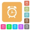 Alarm clock rounded square flat icons - Alarm clock flat icons on rounded square vivid color backgrounds.