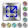 Resize element rounded square steel buttons - Resize element engraved icons on rounded square glossy steel buttons