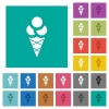 Ice cream square flat multi colored icons - Ice cream multi colored flat icons on plain square backgrounds. Included white and darker icon variations for hover or active effects.