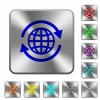 International rounded square steel buttons - International engraved icons on rounded square glossy steel buttons