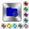 Cloud directory rounded square steel buttons - Cloud directory engraved icons on rounded square glossy steel buttons