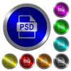 PSD file format icons on round luminous coin-like color steel buttons - PSD file format luminous coin-like round color buttons