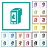 Ink cartridge flat color icons with quadrant frames - Ink cartridge flat color icons with quadrant frames on white background