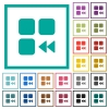 Component fast backward flat color icons with quadrant frames - Component fast backward flat color icons with quadrant frames on white background