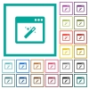Application wizard flat color icons with quadrant frames - Application wizard flat color icons with quadrant frames on white background