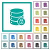 Database lock flat color icons with quadrant frames - Database lock flat color icons with quadrant frames on white background