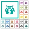 Dollar bags flat color icons with quadrant frames - Dollar bags flat color icons with quadrant frames on white background