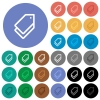 Tags round flat multi colored icons - Tags multi colored flat icons on round backgrounds. Included white, light and dark icon variations for hover and active status effects, and bonus shades on black backgounds.