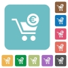 Checkout with Euro cart rounded square flat icons - Checkout with Euro cart white flat icons on color rounded square backgrounds