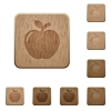 Apple wooden buttons - Apple on rounded square carved wooden button styles