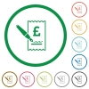 Signing Pound cheque flat icons with outlines - Signing Pound cheque flat color icons in round outlines on white background