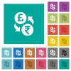 Pound Rupee money exchange square flat multi colored icons - Pound Rupee money exchange multi colored flat icons on plain square backgrounds. Included white and darker icon variations for hover or active effects.