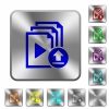 Upload playlist rounded square steel buttons - Upload playlist engraved icons on rounded square glossy steel buttons