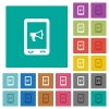 Mobile reading aloud square flat multi colored icons - Mobile reading aloud multi colored flat icons on plain square backgrounds. Included white and darker icon variations for hover or active effects.