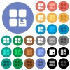 Save component round flat multi colored icons - Save component multi colored flat icons on round backgrounds. Included white, light and dark icon variations for hover and active status effects, and bonus shades on black backgounds.