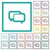Chat bubbles flat color icons with quadrant frames - Chat bubbles flat color icons with quadrant frames on white background
