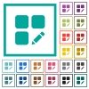 Rename component flat color icons with quadrant frames - Rename component flat color icons with quadrant frames on white background
