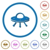 UFO icons with shadows and outlines - UFO flat color vector icons with shadows in round outlines on white background