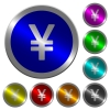 Japanese Yen sign luminous coin-like round color buttons - Japanese Yen sign icons on round luminous coin-like color steel buttons
