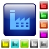 Factory building color square buttons - Factory building icons in rounded square color glossy button set