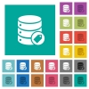 Database tag square flat multi colored icons - Database tag multi colored flat icons on plain square backgrounds. Included white and darker icon variations for hover or active effects.