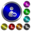 Print user account luminous coin-like round color buttons - Print user account icons on round luminous coin-like color steel buttons