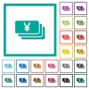 Yen banknotes flat color icons with quadrant frames - Yen banknotes flat color icons with quadrant frames on white background