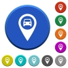 Vehicle GPS map location beveled buttons - Vehicle GPS map location round color beveled buttons with smooth surfaces and flat white icons
