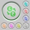 Pound Rupee money exchange push buttons - Pound Rupee money exchange color icons on sunk push buttons