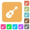 Acoustic guitar rounded square flat icons - Acoustic guitar flat icons on rounded square vivid color backgrounds.