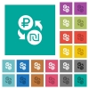 Ruble Shekel money exchange square flat multi colored icons - Ruble Shekel money exchange multi colored flat icons on plain square backgrounds. Included white and darker icon variations for hover or active effects.