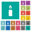 Burning candle with melting wax multi colored flat icons on plain square backgrounds. Included white and darker icon variations for hover or active effects. - Burning candle with melting wax square flat multi colored icons