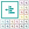 Decrease left indentation of content flat color icons with quadrant frames - Decrease left indentation of content flat color icons with quadrant frames on white background