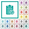 Note disabled flat color icons with quadrant frames - Note disabled flat color icons with quadrant frames on white background