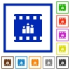 rank movie flat framed icons - rank movie flat color icons in square frames on white background