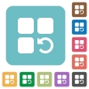 Undo component operation rounded square flat icons - Undo component operation white flat icons on color rounded square backgrounds
