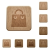 Shopping bag wooden buttons - Shopping bag on rounded square carved wooden button styles