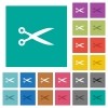 Cut with scissors square flat multi colored icons - Cut with scissors multi colored flat icons on plain square backgrounds. Included white and darker icon variations for hover or active effects.