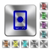 Mobile warranty rounded square steel buttons - Mobile warranty engraved icons on rounded square glossy steel buttons