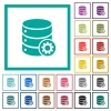 Database settings flat color icons with quadrant frames - Database settings flat color icons with quadrant frames on white background